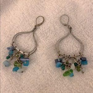 🌷Silver Dangly Earrings with Blue Beaded Stones